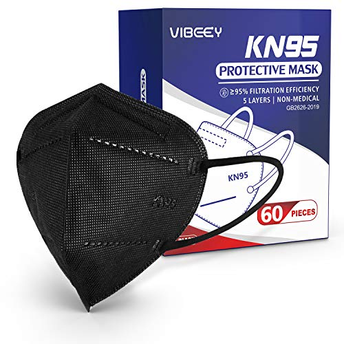 KN95 Face Mask, Included on FDA EUA List, 60pcs Vibeey Individually Wrapped Cup Mask, 5-Ply Layer Filter, Disposable KN95 Face Masks Black