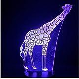 Led 3D Veilleuse Lampe Multicolore Girafe Animaux Enfants Jouets Décoration 3D...