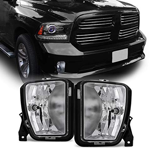 AKKON - For 2013 2014 2015 2017 2018 Dodge Ram 1500 Pickup Truck Clear Bumper Fog Lights w/Bulbs