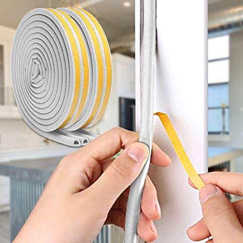 Dehomy 66FT Weatherstrip Seal Strip for Doors and Windows,Self Adhesive Foam Weatherstrip,Soundproofing Rubber Seal Strip and Windows Gap Blocker,0.35 Inch Wide x 0.29 Inch Thick(2 Pack,Grey)