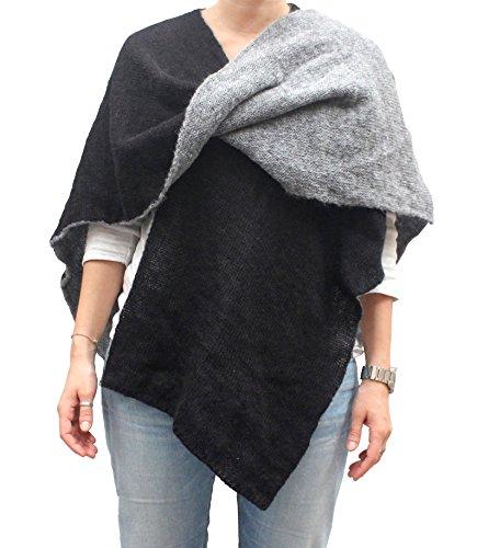 CG - Talento Fiorentino, mantella double face, poncho aperto, scialle coprispalle invernale fatto a maglia, unisex, fatto in Toscana, Made in Italy (Nero/Grigio, Tinta unita)