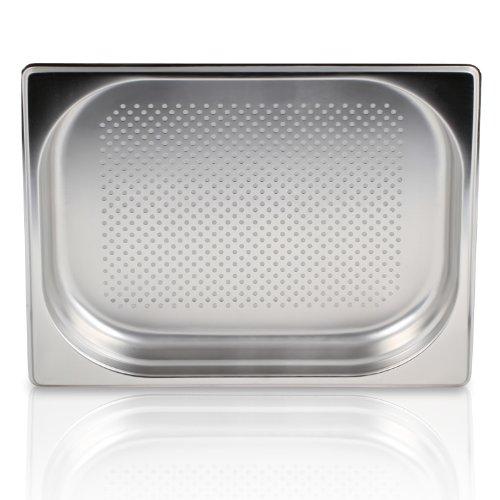 Greyfish GN Behälter :: gelocht :: für Gaggenau/Miele/Siemens Dampfgarer (Edelstahl/Spülmaschinentauglich, Gastronorm 1/2, B 32,5 x T 26,5 x H 4,0)