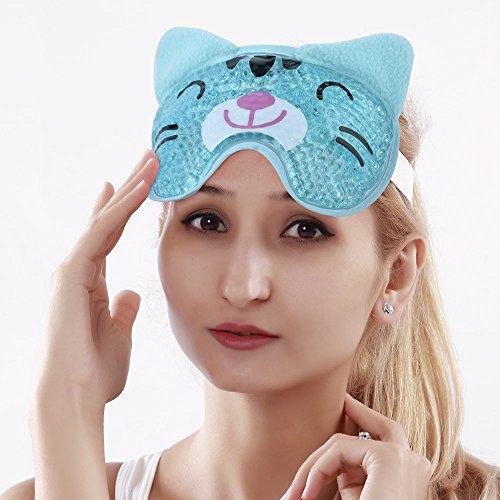 Augenmaske Kühlend Gel Kühlmaske Schlafmaske für Die Augen, Migräne, Entspannung, Kopfschmerzen, Augen Geschwollene - Blue Cat