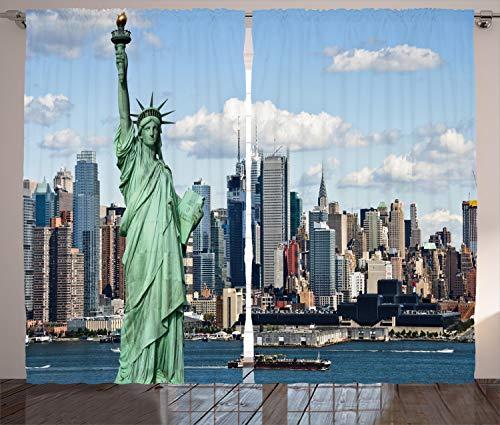 ABAKUHAUS Hafen Rustikaler Vorhang, Statue von Liberty NYC, Wohnzimmer Universalband Gardinen mit Schlaufen und Haken, 280 x 175 cm, Blau