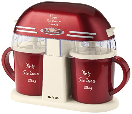 Ariete Double 00C063100AR0 Twin Ice Cream Maker 631 Party Time im Retro-Design der 50-er Jahre, 9 W, rotmetallic, Kunststoff