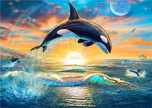 DIY Diamant Borduurwerk Sprong Dolfijnen Diamant Schilderen Kruissteek Handwerken Volledig Vierkant Kristal Mozaïek Home Decor-3-Round 70x50cm