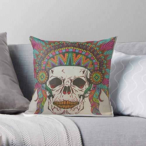 BONRI Warrior Native Feathers Skulls Tribal Indian Mystic -Modern décoratif et léger en Polyester Doux taies d'oreiller pour Chambre/Salon/canapé Chaise et Voiture 17×17inch