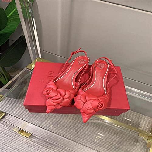 DZQQ 2021 Nueva Sandalia de Moda para Mujer con diseño de decoración de Rosa Blanca Estilo Europeo y Americano Lleno de Personalidad