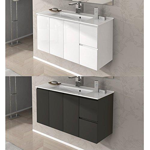 Bagno Italia Arredo Bagno da 100 cm sospeso Mobile con lavandino 2 Colori Bianco Grigio Talpa I