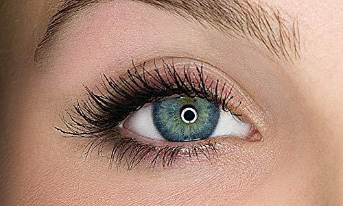 Kontaktlinsen farbig ohne Stärke farbige Jahreslinsen weiche Linsen soft Hydrogel 2 Stück Farblinsen + Linsenbehälter 0.0 Dioptrien natürliche Farben Serie Gleam Blue (blau)