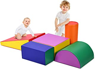 GLACER Crawl and Climb Foam Play Set, 5 Piece Lightweight Colorful Fun Activity Play Set for Climbing, Crawling and Sliding, Safe Foam Playset for Toddlers, Preschoolers, Baby and Kids