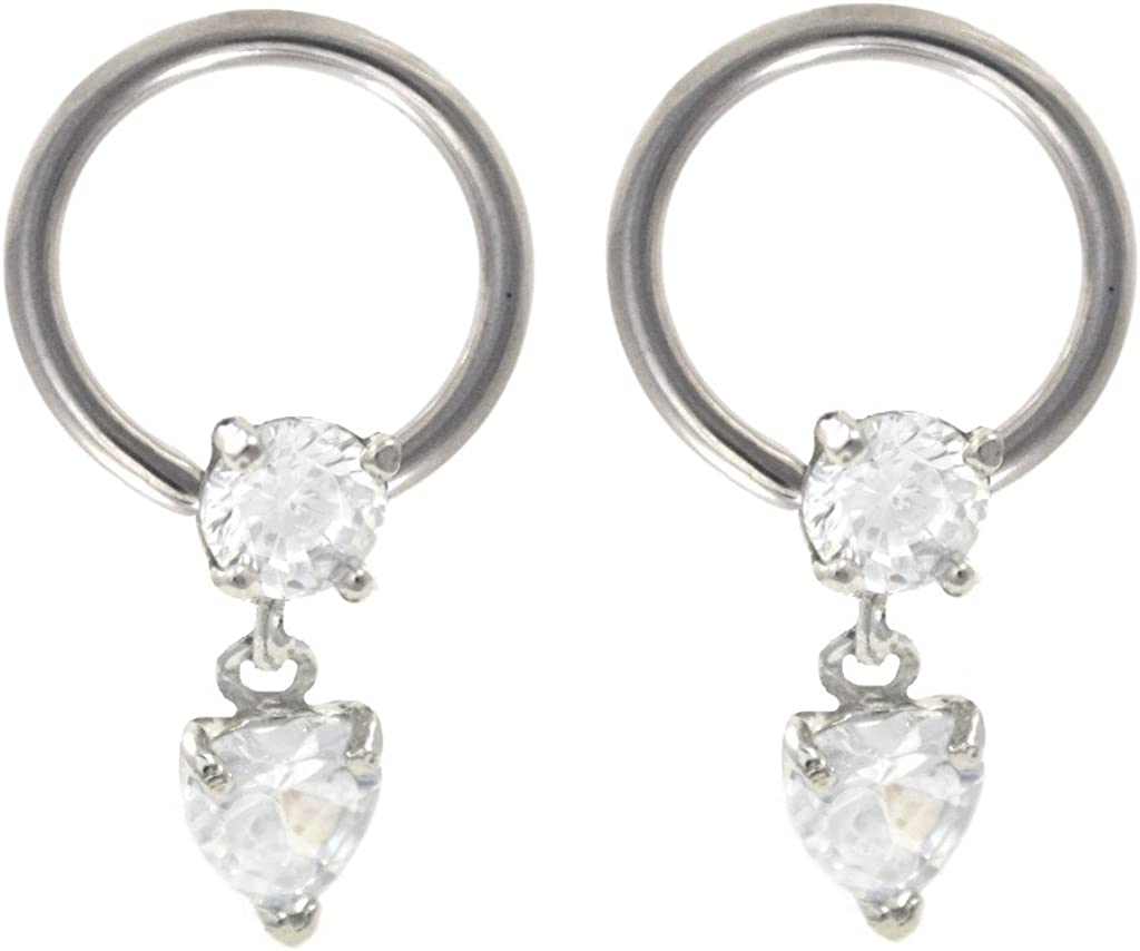 playful piercings Pair of Cz Clear Heart Dangle Captive Bead Ring Lip, Belly, Nipple, Cartilage, Tragus, Earring Hoop - 16g