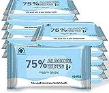 120 toallitas húmedas portátiles (10 unidades/paquete), 75% de alcohol, toallitas húmedas grandes y suaves para limpiar manos, ordenadores, teléfonos móviles, juguetes, hogar, oficina