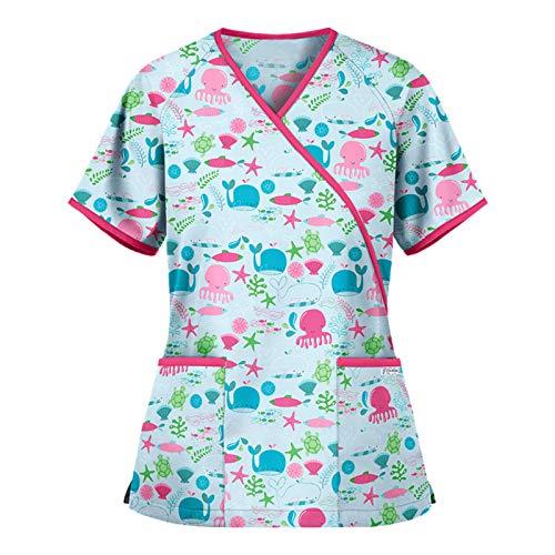 Sonojie Damen Kasacks Pflege Bunt V-Ausschnitt Schlupfkasack Schlupfjacke mit Druckknöpfe Motiv Kurzarm V-Ausschnitt Schlupfhemd Berufskleidung mit Gürtel Krankenpfleger Uniformen Nurse