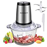 Electric Food Chopper Meat Grinders, Maypott 500W 8-Cup Food Processor, 2L BPA-Free Glass Bowl Blender Grinder for Meat, Vegetables, Fruits and Nuts, 4 Sharp Blades, Fast & Slow 2-Speed
