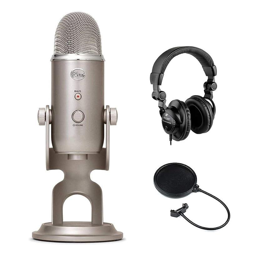 Blue Yeti USB Microphone (Platinum) with Polsen HPC-A30 Studio Monitor Headphones & Pop Filter Bundle