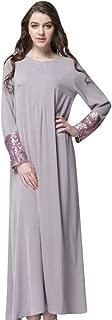 Big Sale BBesty Women O-Neck Solid Long Sleeve Sequin Patchwork Sleeve Muslim Custom Long Dress,Travel,Work,Casual