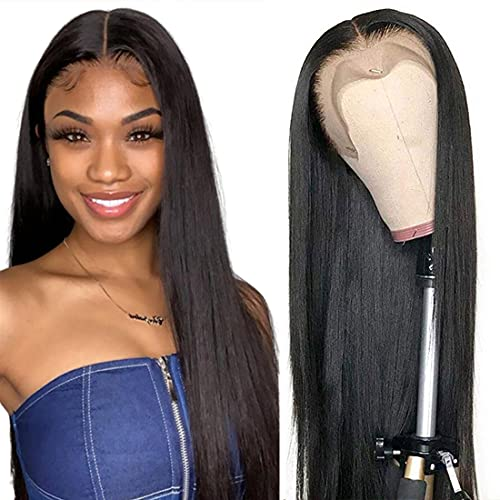 Antimi Lace Front Wig Human Hair 13x4 Lace Frontal Wigs for Black Women 20 inch Straight Brazilian Virgin Hair 150% Density Human Hair Wigs Pre Plucked with Baby Hair Natural Color( 20inch wig)