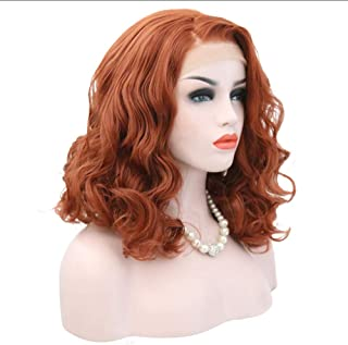 Huanxidp 14 Inch Short Curly Heat Resistant Hair Orange Hand Tied Daily Makeup Synthetic Lace Front Wig For Women Party Wigs