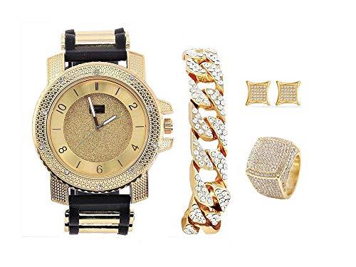 Bling-ed Out It's Lit! Hip Hop Watch & Jewerly Set w/Cuban Chain Bracelet, Kite Bling Earrings & Ring - GJM13 (10, Gold)