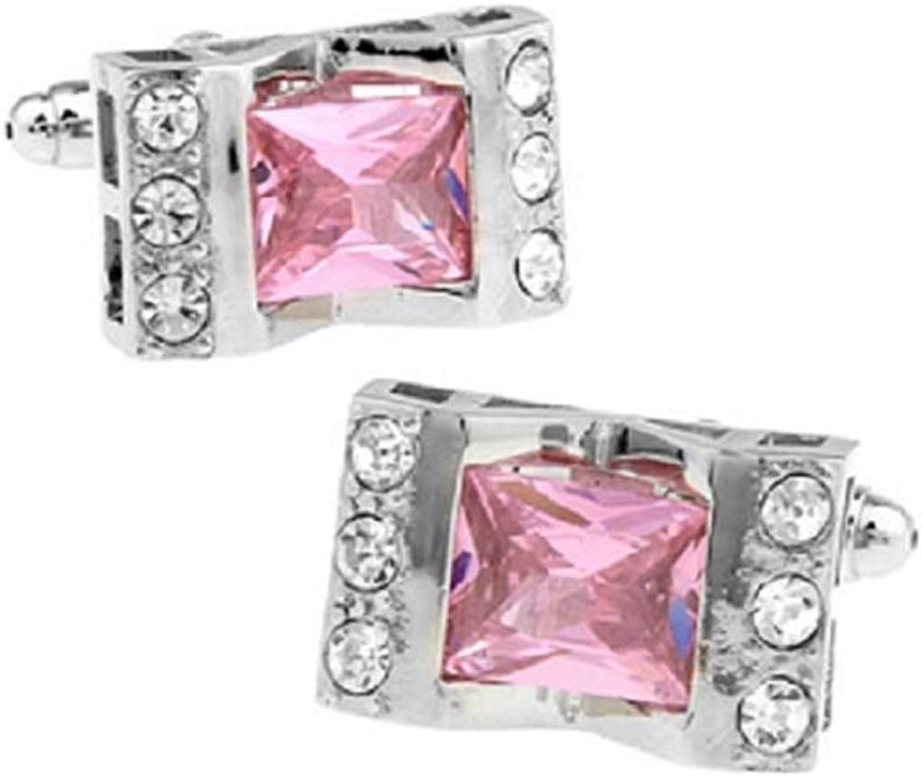 MRCUFF Pink Crystal with Clear Accents Cufflinks in Presentation Gift Box & Polishing Cloth