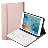 QYiD Funda con Teclado para iPad Mini 5/ Mini 4, Carcasa Delgada Teclado Estuche Funda con Wireless Teclado Bluetooth para iPad Mini 5 2019(5th Gen)/ iPad Mini 4 2015, Oro Rosa
