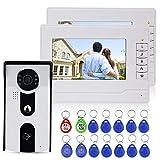 NN99 Color 7'' Video portero automático Sistema de intercomunicación Kit Acceso RFID Cámara de video Timbre IR Visión nocturna + 2 Monitor interior + 12pcs Llaveros RFID para el hogar/apartamento