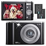 Digital Camera Ultra HD 2.7K 44MP 2.88 Inch Vlogging Camera with 16X Digital Zoom, Point and Shoot Camera Pocket Camera Compact Camera with LED Fill Light for Kids/Teens/Students/Beginners (Black)