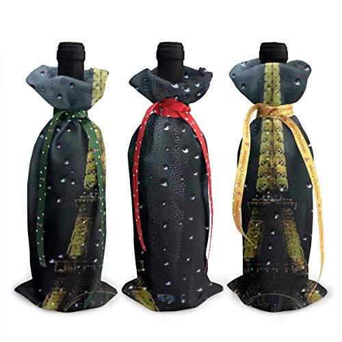 LemonSisterShop Eiffel Tower Christmas 3pcs Wine Bottle Cover Sets Decorations Bag