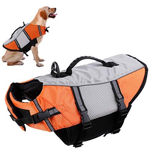 Chaleco salvavidas para perro, para natación, kayak, barco, salvavidas para mascotas, pequeño, mediano, grande, dispositivo de flotación, reflectante, ajustable, alta visibilidad, liberación rápida, antidesgarros