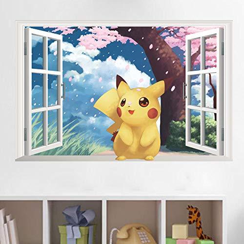WSMSP 3D DIY PVC muurstickers Kawaii karakter onder de kersenboom raam muurstickers kinderen kunst Stickers muurschildering kinderkamer Poster Decor