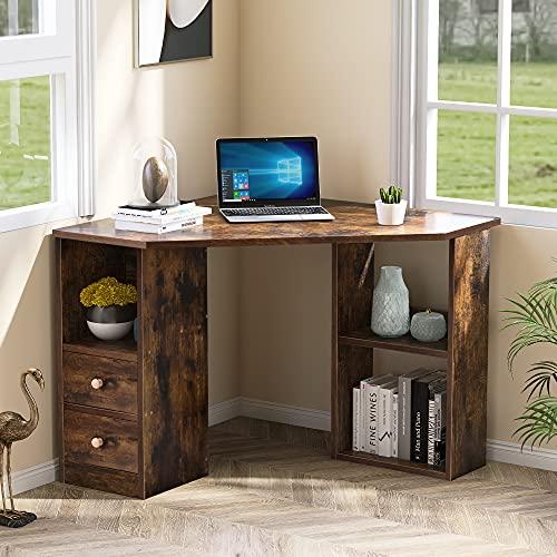 Escritorio en forma de L, escritorio esquinero, escritorio de oficina para juegos en casa, con gran espacio de almacenamiento, mesa de estudio para computadora portátil para oficina en casa