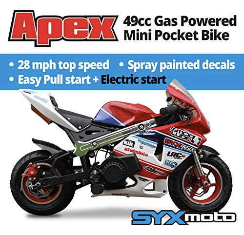 SYX MOTO Apex Electric Start 49cc 2-Stroke Gas Power Kids Mini Pocket Bike, Off-Roading Rocket Motorcycle,Red/Blue