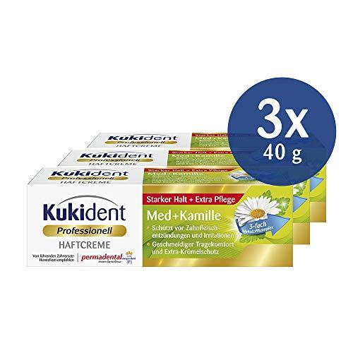 Kukident Haftcreme Med+Kamille Zahnreiniger für die Dritten, 3er Pack (3 x 40 g)
