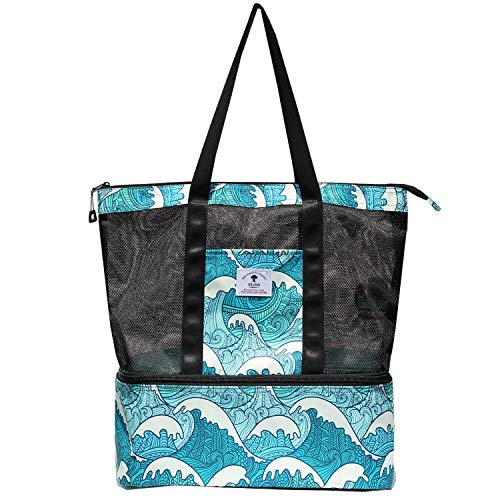 Mesh Beach Bag with Big Cooler - Floral Large Beach Tote,Picnic Cooler,Toy and Grocery Storage Bags Pool Bag Travel Shoulder Bag (Wave)