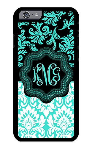 iZERCASE iPhone 6 Plus Case Monogram Personalized Light Pink and White Pattern Rubber CASE - Fits iPhone 6 Plus T-Mobile, AT&T, Sprint, Verizon and International (Turquoise)