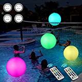 Icnice Pool Toys 2Pack Light up 16'' Beach Balls 13 Color Changing LED Floating Pool Lights with 2 Remotes Glow in Dark Pool Beach Games for Kids Adult Party Supplies Pool Decoration Outdoor(4 Lights)