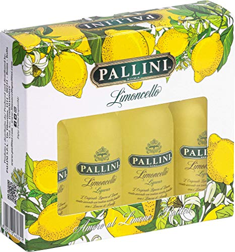 Pallini Limoncello - 200 ml (50 ml x 4 bottiglie): nato dall'infusione del pregiato'Limone Costa D'Amalfi IGP' raccolto a mano a Vietri sul Mare, Amalfi – Senza glutine, pesticidi, OGM – 26% ABV.