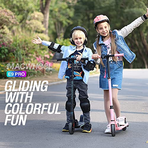 Macwheel Electric Scooter, Electric Scooter for Kids, 3 Level Adjustable Speeds and Heights, Lithium Battery, Brushless Motor, Foldable and Portable, for Kids 8+, E9 PRO