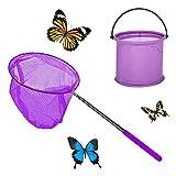 Yisscen Redes de Mariposa Telescópicas Red de Pesca Ninos con Cubos Plegables y Varilla Telescópica, para Atrapar Insectos, Pescar, Actividades de Jardín al Aire Libre(Púrpura)