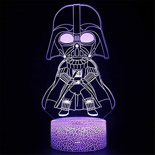 Darth Vader Luz de noche para niños Lámpara de ilusión 3D con mando a distancia 16 colores que cambian de Navidad Halloween regalo de cumpleaños para niño niña