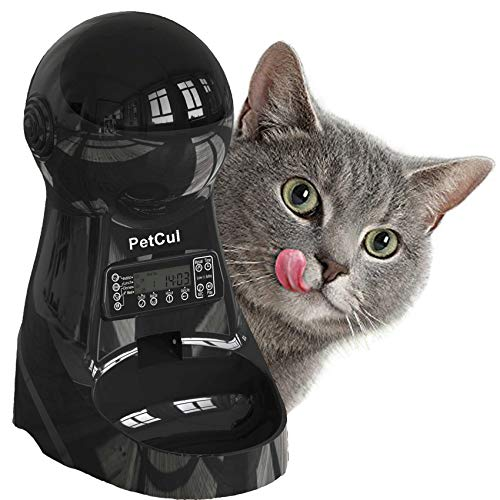 PetCul Automatic Cat Feeder 3L Pet Food Dispenser Feeder for Dog Cat——4 Meal, Voice Recorder & Timer Programmable, Portion Control (Black)