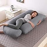 Almohada de Embarazo, Almohada Embarazada Dormir en Forma de J, Multifuncional Embarazo Almohada de Cuerpo Completo para Soporte de Vientre/Caderas/Piernas/Espalda, Extraíble Lavable (Raya gris)