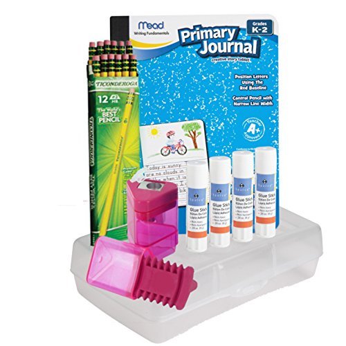 Dixon Wood-Cased Pencils, 2 HB Box of 12 - Primary Journal K-2nd Grade - All Purpose School Glue Sticks 4-Pack – Sharpener Eraser Combo - Clear Plastic Pencil Box - School Supplies Value Pack