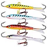 WOVELOT - Juego de 4 señuelos de Pesca de pececillo y Hielo de 18 g, 8 cm, para Pesca de Invierno, Carpas, luciopercas