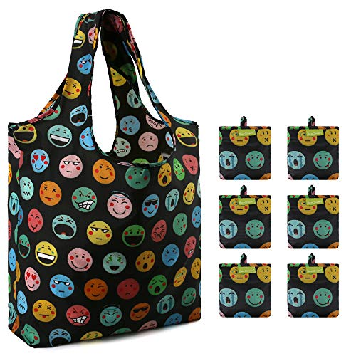 Black Supermarket Shopping Bags Bulk 6 Pack Machine Washable Recycle Grocery Totes Fun Emoji Pattern Heavy Duty Reusable Bags for Groceries