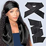 Xtrend 2Pcs Women's Satin Edge Scarves for Hair 58 Inch Laying Scarf for Lace Wig Non Slip Hair Wrap Wigs Grip Band for Yoga, Makeup, Facial, Sport (2 pcs, Black#)