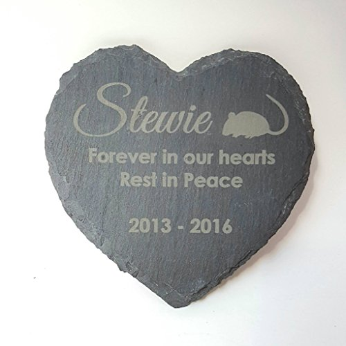 Legacy Lasercrafts Personalised Engraved Heart Shape Natural Slate Pet Memorial Grave Marker Plaque