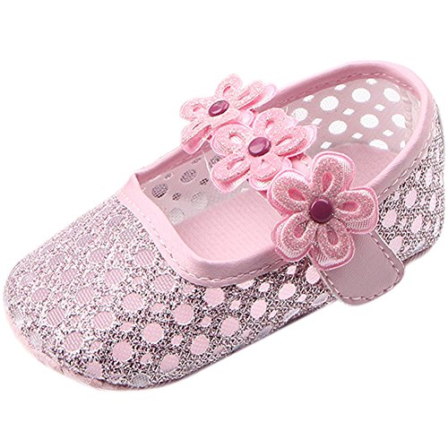 Fire Frog Sweet Baby Girls Summer Mary Jane Princess Dress Soft Soled Bottom Shoes Pink 12-18 Month