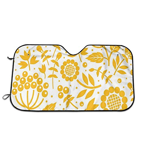 GFHTH Parasole per Parabrezza per Auto,Illustration of Doodle Style Animal And Flowers On Heart Filled Background,Front Window Sun Shade Visor Shield Shield(27.5 x 51)